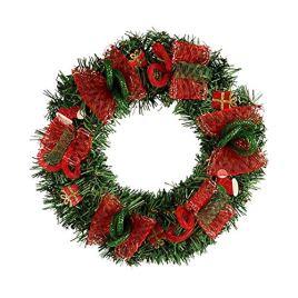 Couronne de Noël, Grandes Guirlandes Fleurs Artificielles avec Lampe LED Décoration Suspendue Murale avec Rouge Maille Porte Vitrine 30cm Déco pour Noël