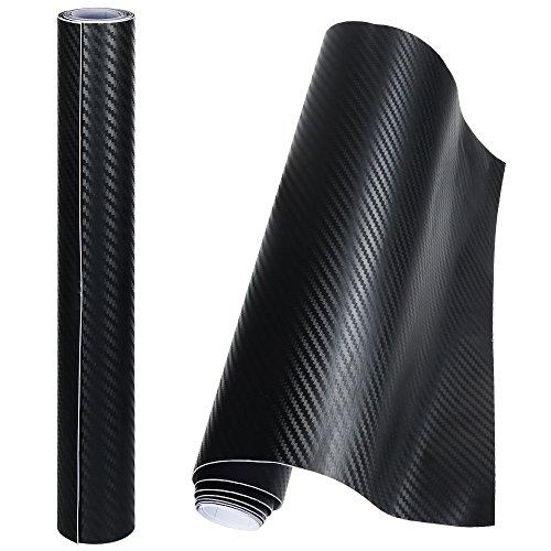 Anpro 2 Rotoli Pellicola Adesiva 3D Carbonio/Rivestimento Adesivo Adesiva Nero per Auto/Car...