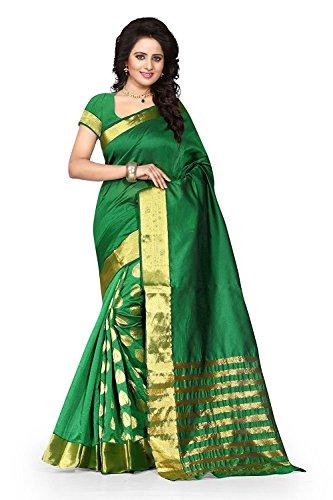 Sarees (Deepjyoti Creation Women's Cotton Silk Saree with Blouse Piece Green Color)