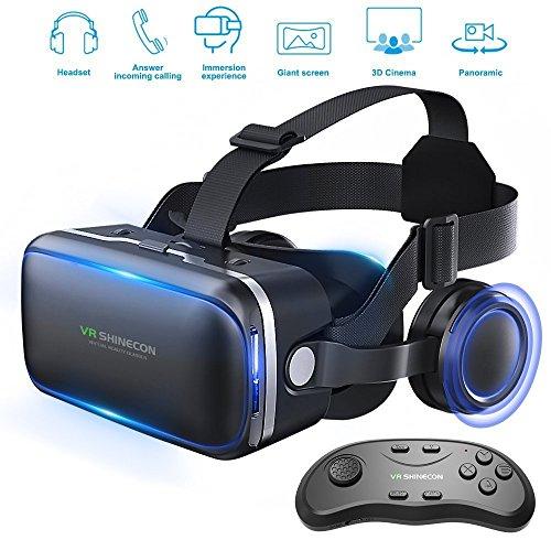 Gafas de realidad virtual 3D con auriculares para juegos de realidad virtual y películas en 3D de Honggu® Shinecon, paquete con mando a distancia