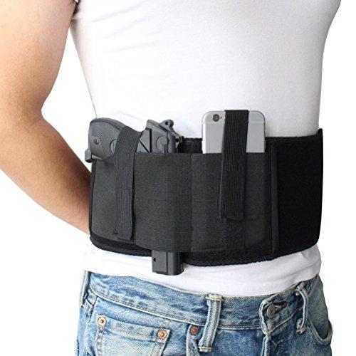 Custodia per pistola elastica a braccio per il trasporto a mano oa destra con tasca per riviste e 2...