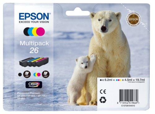 Epson 26 Serie Orso Polare Cartuccia Originale, Multipack, Standard, 4 Colori