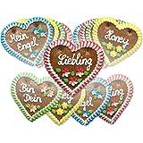 Lebkuchenherzen Mischkarton, verschiedene Sprüche - Menge wählbar - bekannt von der Wiesn / Oktoberfest - perfekt als Geschenk - 5 Herzen (5 x 70 g)