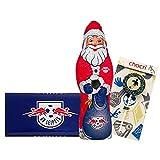 """Kleines Weihnachts-Schoko-Fanpaket - Bundle mit Weihnachtsmann (Nikolaus) und Schoko-Tafel aus Fairtrade-Kakao (250 g) + Fussball-Schoko-Lolly """"Nervennahrung"""" von chocri (22 g) (RasenBallsport Leipzig)"""