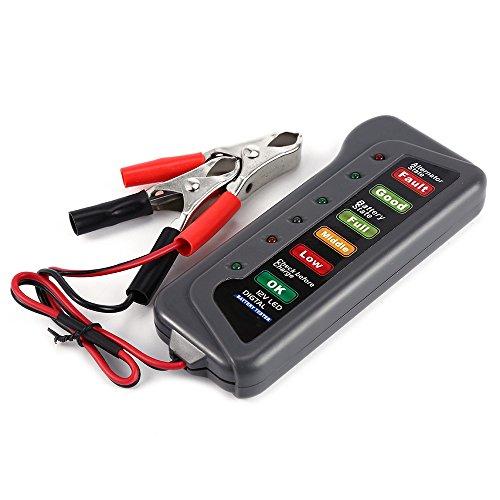 Zorbes T16897 12V Digital Battery Alternator Tester 6 LED Lights Display Indicates Condition