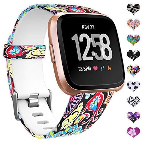 HUMENN Cinturini per Fitbit Versa Smartwatch/Fitbit Versa 2, Fiore Band Replacement Silicone Cinturino for Fitbit Versa/Fitbit Versa Lite, Piccolo Meduse Colorate