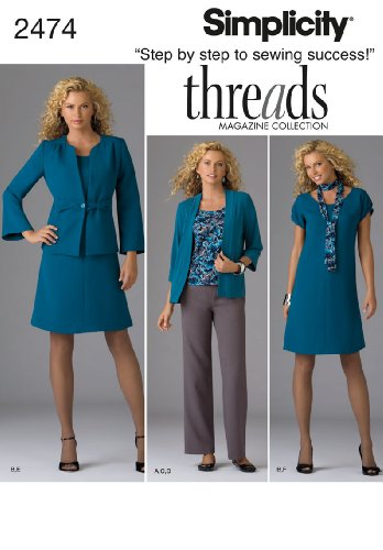 Simplicity Threads Magazine Pattern 2474 Women's Dress or Top, Pants, Jacket, Scarf and Knit Cardigan Sizes 20W-28W