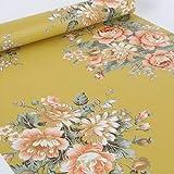 LoveFaye Vintage Peony Floral Contact Paper Dark Yellow Peel & Stick Shelf Liner Dresser Drawer Sticker 17.7 Inch By 9.8 Feet