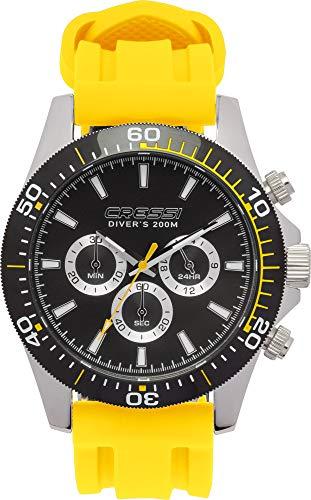 Cressi Nereus Watch, Orologio Cronografo Analogico Professionale Subacqueo 200 m/20 ATM Unisex Adulto, Nero/Giallo, Taglia Unica