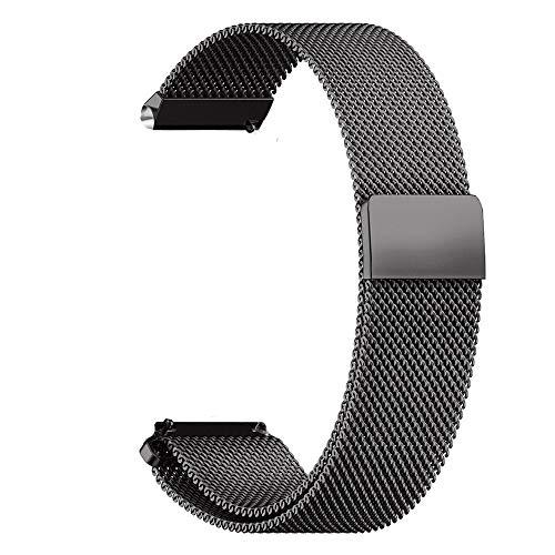 RanGuo Cinturino di Ricambio per Smart Watch con Larghezza di 18 mm / 20 mm / 22 mm, Cinturino in metallo, Regolabile, in Acciaio Inox, Chiusura Magnetica, sgancio rapido (Nero)