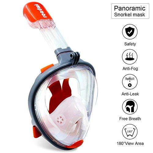 roadwi Panorama Schnorchelmaske 180 Grad Blickfeld Tauchmaske, Easy-Breathing Weitblick Schnorchelmaske, Weiche Verstellbare Kopfriemen mit Anti-Leck-Design für Erwachsene und Kinder