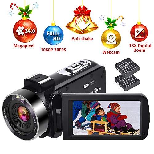 Videocamera HD 1080P 30FPS Videocamera Digitale per Vlogging Videocamere Autoscatto 24.0MP con...