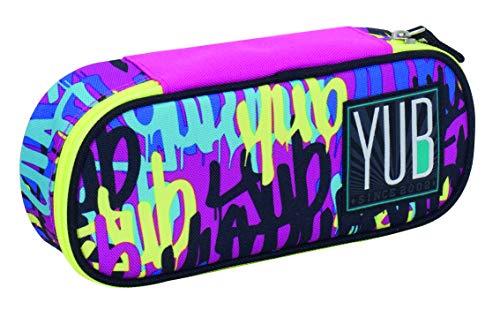 Bustina Round Plus YUB Graffiti, Viola, Organizer interno porta penne