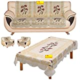 Fab Nation Sofa Covers with Center Table Cover - 10 Polyster Net Sofa Panels for 5 Seater Sofa Set with Table Cover (Multicolor)