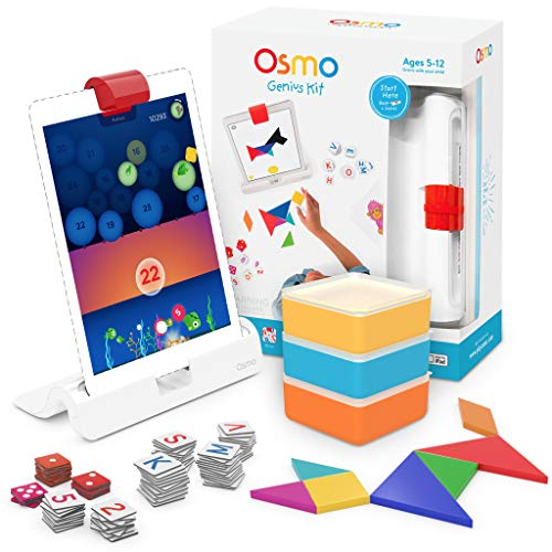 Osmo - Genius Kit for iPad - 5 Hands-On Learning Games - Math, Spelling, Problem Solving & Creativity - STEM - (Osmo Base for iPad Included)