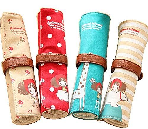 Cosanter 4pcs arrotolato matita sacchetto di tela lovely Girl Animals pattern trucco per bambine