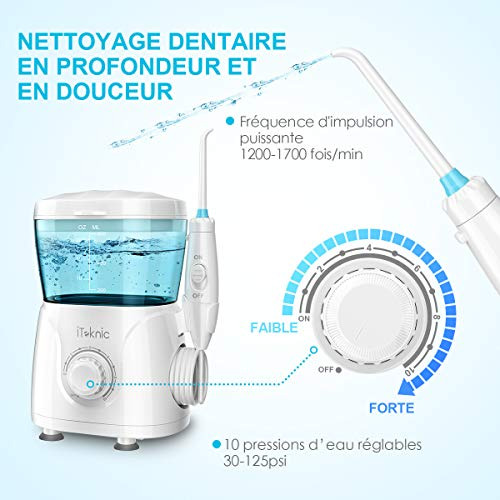 Hydropulseur Jet Dentaire Électrique iTeknic Irrigateur Dentaire Oral Professionnel avec 7 Buses de Rechange Rotation 360°, 10 Pressions Rég... 23