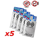 Lot de 5 - Protection Carte de crédit NFC RFID sans Contact Carte Bleue visa mas.