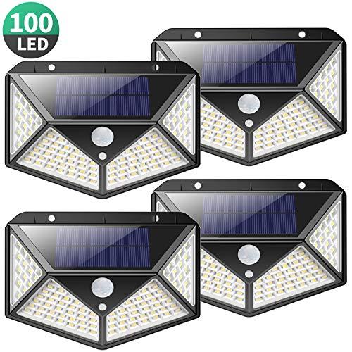 Solarleuchte für Außen,[Superhelle 2200mAh - 4 Stück] Kilponen 100 LED Solarlampen Außen mit Bewegungsmelder Sicherheitswandleuchte270°Solar Beleuchtung Wasserdichte 3 Modi Solarleuchten Garten