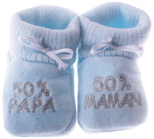 Happy baby - Scarpette per bebè, con ricamo '50% papa 50% maman', 0/3 mesi, colore: blu/argento