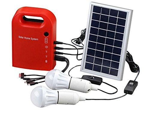 Portátil energía Solar sistema de Home Kit incluye 4en 1cable USB Panel Solar 2bombillas para Iluminación y carga todas partes
