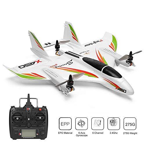 Xk X450 Drone Rc Aerei Telecomandati Aereo Acrobatico Rc Aliante Con Gyro , 6 Canali Atterraggio Decollo Verticale Dirigibile Ad Ala Fissa Per Bambini E Adulti Per Aerei Grandi Dimensioni All'Aperto