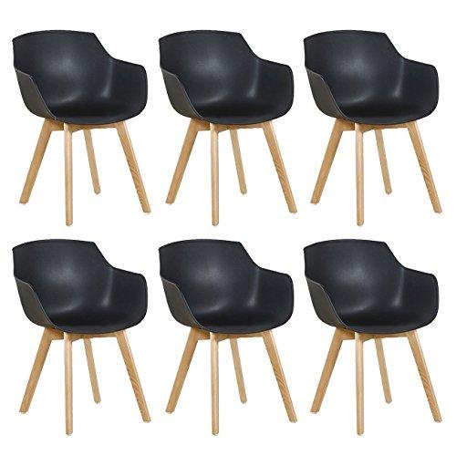 DORAFAIR Set di 6 Pranzo/Ufficio Sedia con Gambe in Faggio Massiccio, Poltrona Moderno Design Sedie Cucina Scandinavo - Nero