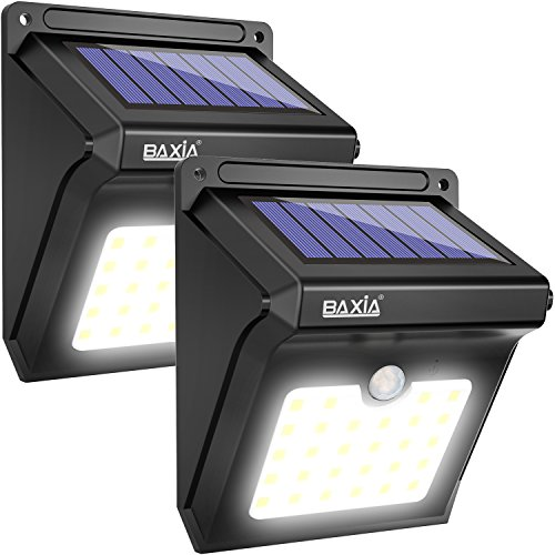 BAXiA Foco Solar, Luces Solares LED Exterior con Sensor de Movimiento, Lámpara Solar Exteriors Impermeable Solares de Pared de Seguridad para Jardín, Patio, Camino, Escalera (28LED, 2 Piezas)