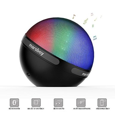 Marsboy-Farbe-LED-Design-Bluetooth-41-Lautsprecher-tragbar-drahtlos-mit-TWS-Funktion-7-Farbwechsel-LED-12-15-Stunden-Wiedergabedauer-fr-Handy-Laptop-PDA-Schwarz