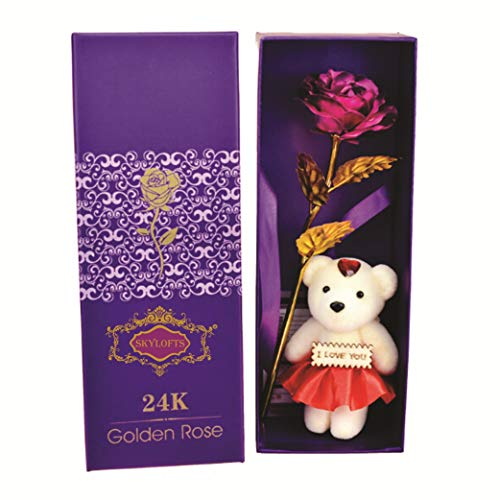 Skylofts 24K Pink Rose with I Love You Teddy Bear Doll, Gift Box and Carry Bag - Best, Birthday Gifts Gold Dipped Rose