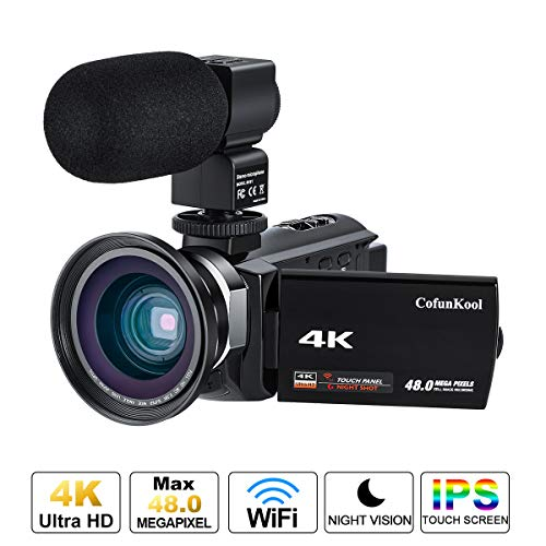 Videocamera 4K, Cofunkool WiFi Ultra Alta Definizione 48MP Digitale Videocamera, Sensore CMOS, IR...