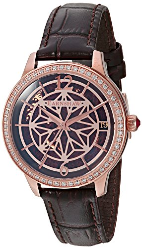 Thomas Earnshaw Damen Skeleton Automatik Smart Watch Armbanduhr mit Leder Armband ES-8064-02