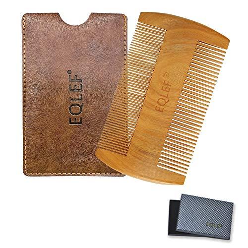 EQLEF  Barba pettine di legno, legno di sandalo verde senza pettine handmade statico, legno baffi pettine