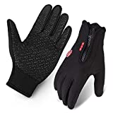 Cycling Gloves, Waterproof Touchscreen in Winter Outdoor Bike Gloves Adjustable Size Black L