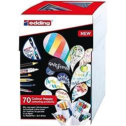 edding Set mit 70 Teilen (69 Stifte und Colour Mixer) - Fasermaler, Pinselstifte, Fineliner, Gelroller, Farbmixer und Pastell-Stift - Colour Happy Set S69+1 zum kreativen Zeichnen, Malen und Handlettering