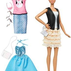 Barbie Fashionista, muñeca rubia con 2 conjuntos (Mattel DTF07)