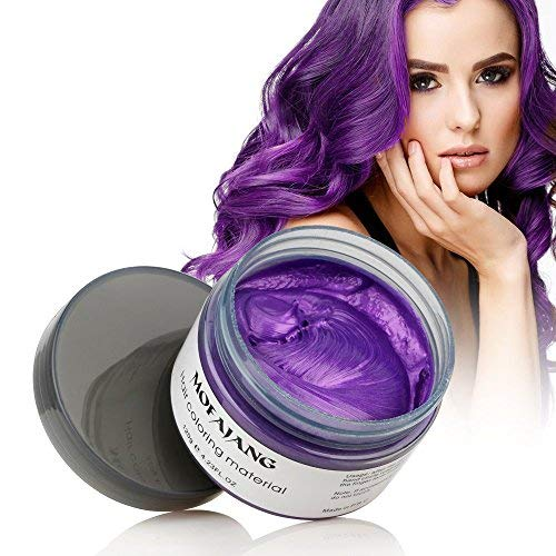 BeeShine A-Purple: Hair Coloring Wax, Purple Disposable Mofajang Instant Matte Hairstyle Mud Cream Hair Pomades For Kids Men Women To Cosplay Nightclub Masquerade Transformation