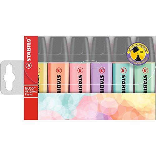 Textmarker - STABILO BOSS ORIGINAL Pastel - 6er Pack - pudriges Gelb, cremige Pfirsichfarbe, rosiges Rouge, Schimmer von Lila, Hauch von Minzgrün,zartes Türkis