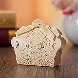 PONATIA 50 Pcs corte lš¢ser con lazo boda fiesta, bolsas de regalo de bodas Chocolate Candy y cajas de regalo (Dorado) ¡