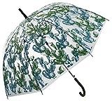 Paraguas Transparente con Motivos de Cactus en 2 Tonos de Verde