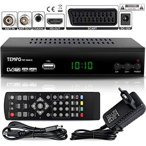 Tempo 4000 Decodificador Digital Terrestre - DVB T2 / HDMI Full HD / Canales Sintonizador / Receptor TV / PVR / H.265 HEVC / USB / Decoder / DVB-T2 / TNT / TDT Television / 4K