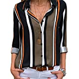 CLOUSPO Blouses for Women V Neck Stripe Loose Button Down Long Short/Roll Up Sleeve Casual Tunic Tops (UK M/CN XL, A-Black)