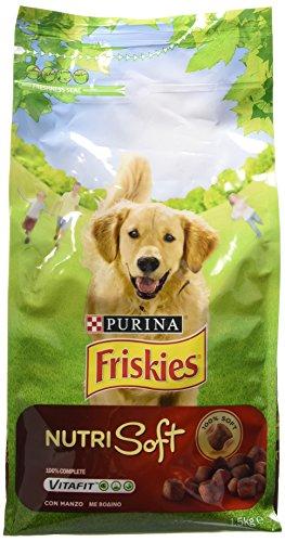 Purina Friskies Crocchette Cane Vitafit Nutri Soft con Manzo, 6 Sacchi da 1.5 kg Ciascuno