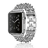 AWStech Cinturino per Apple Watch 38mm Braccialetto in Acciaio Inox Sostituibile Cinghia da Polso Cinturino in Ricambio per Orologio iWatch Tutti Modelli Serie 1 Serie 2 (Apple Watch 38mm, Argento)
