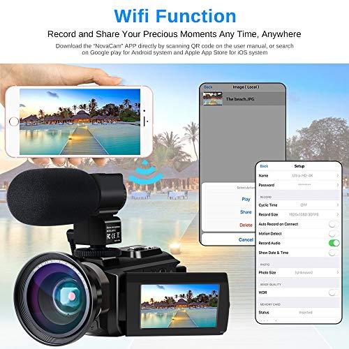 Caméscope 4K Vlogging Caméra Vidéo Ultra HD Wi-Fi Appareil Photo Numérique 48MP 3'' écran Tactile Vision Nocturne 16X Enregistreur de Zoom N... 23