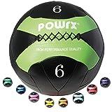 POWRX - Wall Ball 2 kg, 3 kg, 4 kg, 5 kg, 6 kg, 7 kg, 8 kg, 9 kg, 10 kg - Ideale per esercizi di allenamento funzionale e potenziamento muscolare (6 kg/Verde)