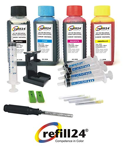 Kit di ricarica per cartucce d'inchiostro Canon 545, 546, 545 XL, 546 XL, nero e a colori,...