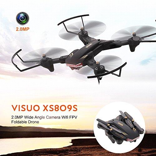 Goolsky VISUO XS809S Drone 2.0MP Grand Angle Caméra Wifi FPV Pliable Drone Une Clé Retour Altitude Maintenir G-capteur Quadcopter avec Une B... 11