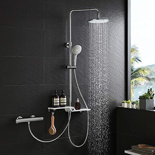 Lonheo 2-Funktionen Edelstahl Duschsystem mit Handbrause, Kopfbrause, Glasablage und Höhenverstellbar Duschstange, Duschset Regendusche kann mit Badewannenarmatur und Thermostat Duscharmatur verbinden