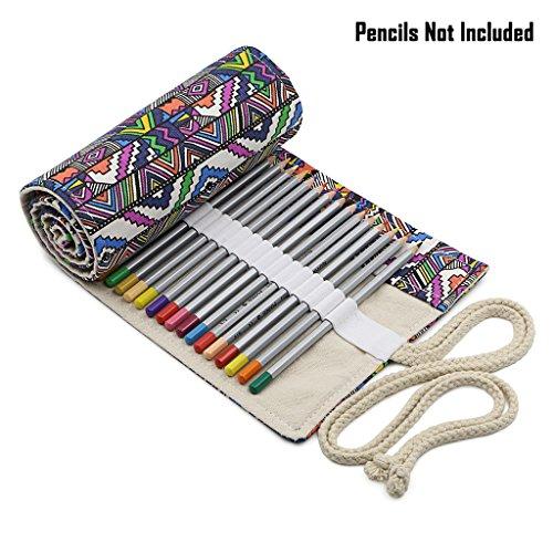 BTSKY - Portamatite arrotolato in tela con 72 scomparti, matite non incluse Bohemian
